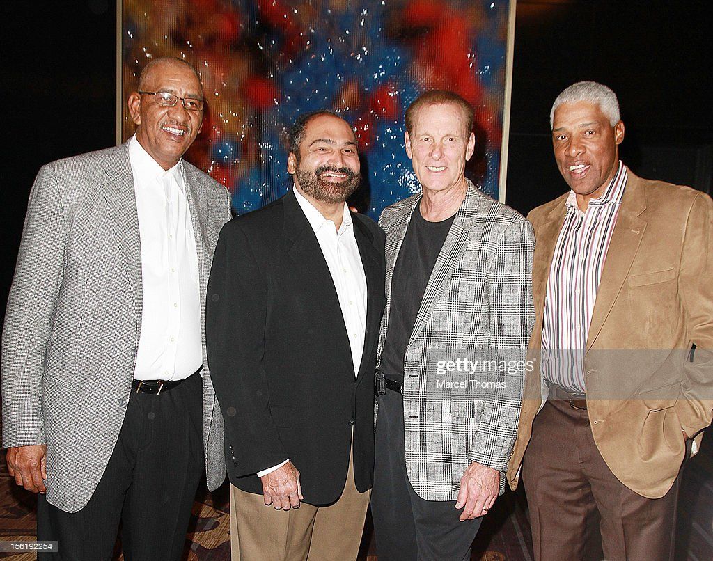 Former NBA players Julius 'Dr J' Erving, <a gi-track='captionPersonalityLinkClicked' href=/galleries/search?phrase=Rick+Barry&family=editorial&specificpeople=240442 ng-click='$event.stopPropagation()'>Rick Barry</a>, George 'The Iceman' Gervin and former NFL player <a gi-track='captionPersonalityLinkClicked' href=/galleries/search?phrase=Franco+Harris&family=editorial&specificpeople=208851 ng-click='$event.stopPropagation()'>Franco Harris</a> attend the 8th All Star Celebrity Classic benefiting the Mr October Foundation for Kids at Cosmopolitan Hotel on November 11, 2012 in Las Vegas, Nevada.