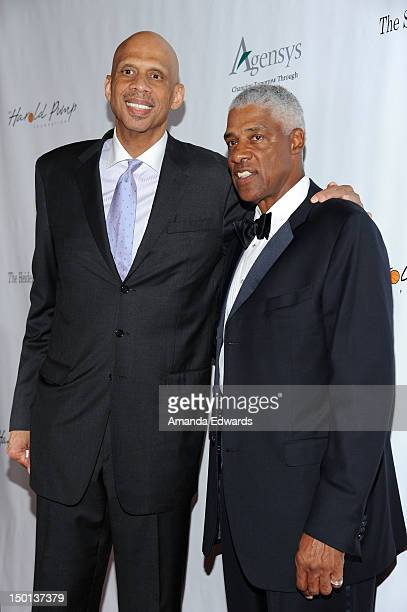 Former NBA players Kareem AbdulJabbar and Julius Erving arrive at the 12th Annual Harold Pump Foundation Gala on August 10 2012 in Los Angeles...