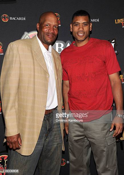 Former NBA players Ron Harper and Allan Houston attend the BACARDI Rums 'Like It Live' Terminal 5 on June 13 2011 in New York City