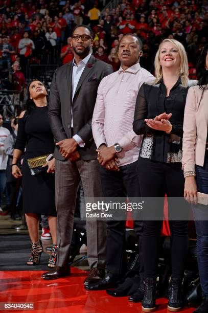 Former NBA players Tracy McGrady and Steve Francis attend the Chicago Bulls game against the Houston Rockets on February 3 2017 at the Toyota Center...