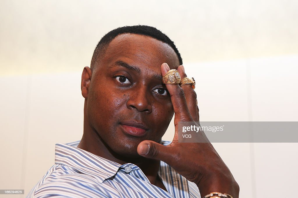 Former NBA star <a gi-track='captionPersonalityLinkClicked' href=/galleries/search?phrase=Horace+Grant&family=editorial&specificpeople=202164 ng-click='$event.stopPropagation()'>Horace Grant</a> visits Mercedes-Benz Arena before NBA pre-season match on April 10, 2013 in Shanghai, China. Golden State Warriors will play Los Angeles Lakers at the Mercedes-Benz Arena on October 18.