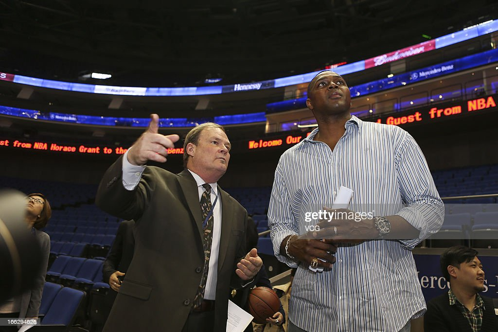 Former NBA star <a gi-track='captionPersonalityLinkClicked' href=/galleries/search?phrase=Horace+Grant&family=editorial&specificpeople=202164 ng-click='$event.stopPropagation()'>Horace Grant</a> (R) visits Mercedes-Benz Arena before NBA pre-season match on April 10, 2013 in Shanghai, China. Golden State Warriors will play Los Angeles Lakers at the Mercedes-Benz Arena on October 18.