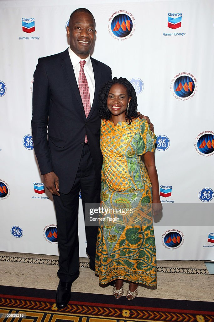 Former NBA star humanitarian and Chairman and President of the Dikembe Mutombo Foundation Inc Dikembe Mutombo and AAI President CEO Amini Kajunju...