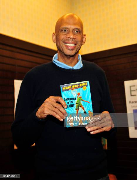 Former NBA Star Kareem Abdul Jabbar signs copies of his new book 'Sasquatch In The Paint' at the Barnes Noble bookstore at The Grove on October 12...