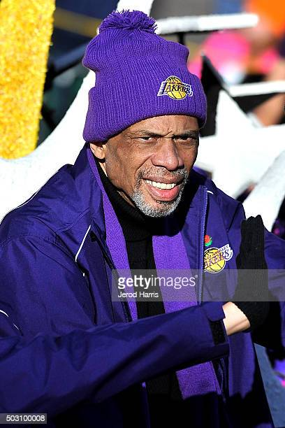 Former NBA star Kareem AbdulJabbar rides on the Los Angeles Lakers float at the 127th Tournament of Roses Parade Presented by Honda on January 1 2016...