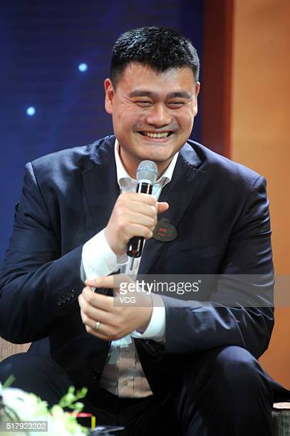Former NBA star Yao Ming attends the countdown press conference of Shanghai Disneyland Park as the honorary ambassador on March 28 2016 in Shanghai...