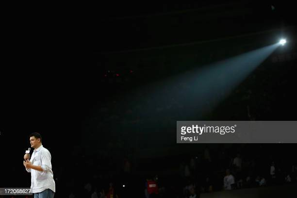 Former NBA star Yao Ming gives a speech before the 2013 Yao Foundation Charity Game between China team and the NBA Stars team on July 1 2013 in...