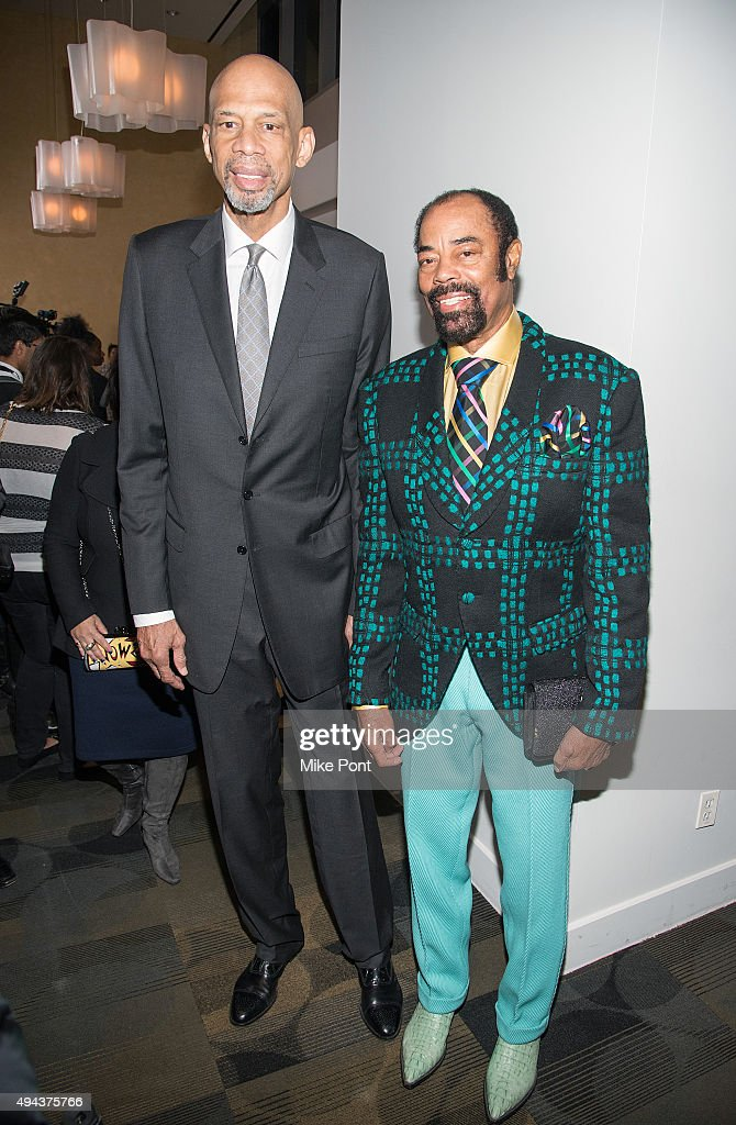 Former NBA stars Kareem AbdulJabbar and Walt Frazier attend the 'Kareem Minority Of One' New York premiere at Time Warner Center on October 26 2015...