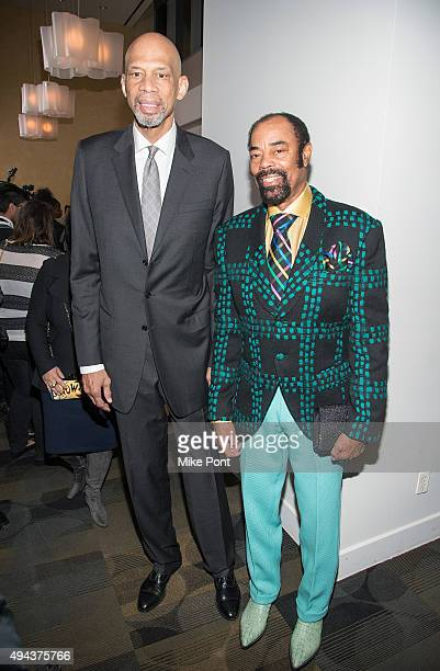 Former NBA stars Kareem AbdulJabbar and Walt Frazier attend the 'Kareem Minority Of One' New York premiere at Time Warner Center on October 26 2015...