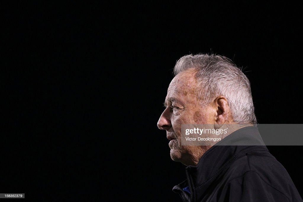 Former NCAA Football Coach Bobby Bowden looks on from the sideline during the Got Your 6 And Pat Tillman Foundation benefit game on December 13, 2012 in Norwalk, California.