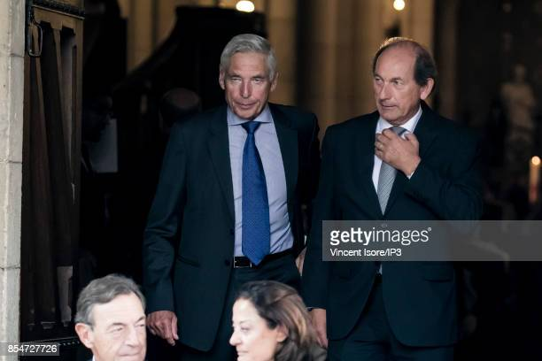 Former Nestle CEO Peter Brabeck Letmathe and Nestle General Manager Paul Bulcke attend the Liliane Bettencourt's funeral organized at the Saint...