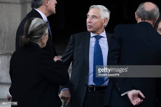Former Nestle CEO Peter Brabeck Letmathe attends the Liliane Bettencourt's funeral organized at the Saint Pierre Church on September 26 2017 in...
