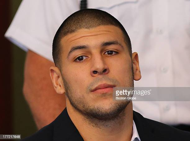 Former New England Patriots player Aaron Hernandez at Attleboro District Court indicted on a charge of firstdegree murder in the slaying of a Odin...