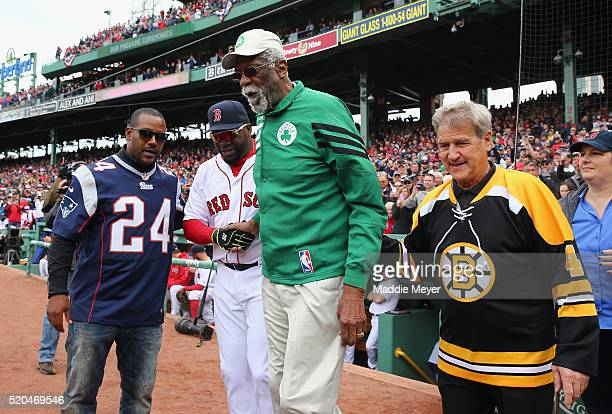 Former New England Patriots player Ty Law David Ortiz of the Boston Red Sox former Boston Celtics player Bill Russell and former Boston Bruins player...