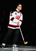 Former New Jersey Devils captain Scott Stevens skates on the ice during a ceremony to celebrate the 20 year anniversary of the 1995 New Jersey Devils...