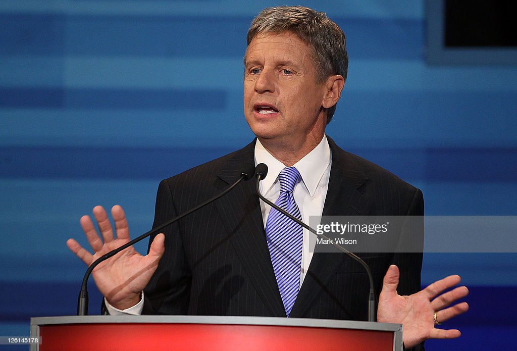 Former New Mexico Gov Gary Johnson speaks in the Fox News/Google GOP Debate at the Orange County Convention Center on September 22 2011 in Orlando...