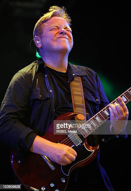 Former New Order lead singer Bernard Sumner of the British rock band 'Bad Lieutenant' performs on stage on day 3 at the Roskilde Festival on July 3...