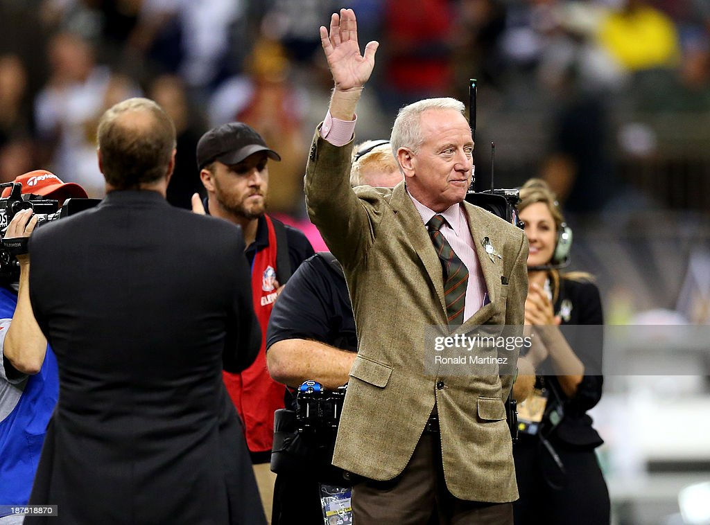 Former New Orleans Saints player <a gi-track='captionPersonalityLinkClicked' href=/galleries/search?phrase=Archie+Manning&family=editorial&specificpeople=453294 ng-click='$event.stopPropagation()'>Archie Manning</a> takes the field for a 'Ring of Honor' ceremony at halftime during a game between the New Orleans Saints and the Dallas Cowboys at the Mercedes-Benz Superdome on November 10, 2013 in New Orleans, Louisiana.