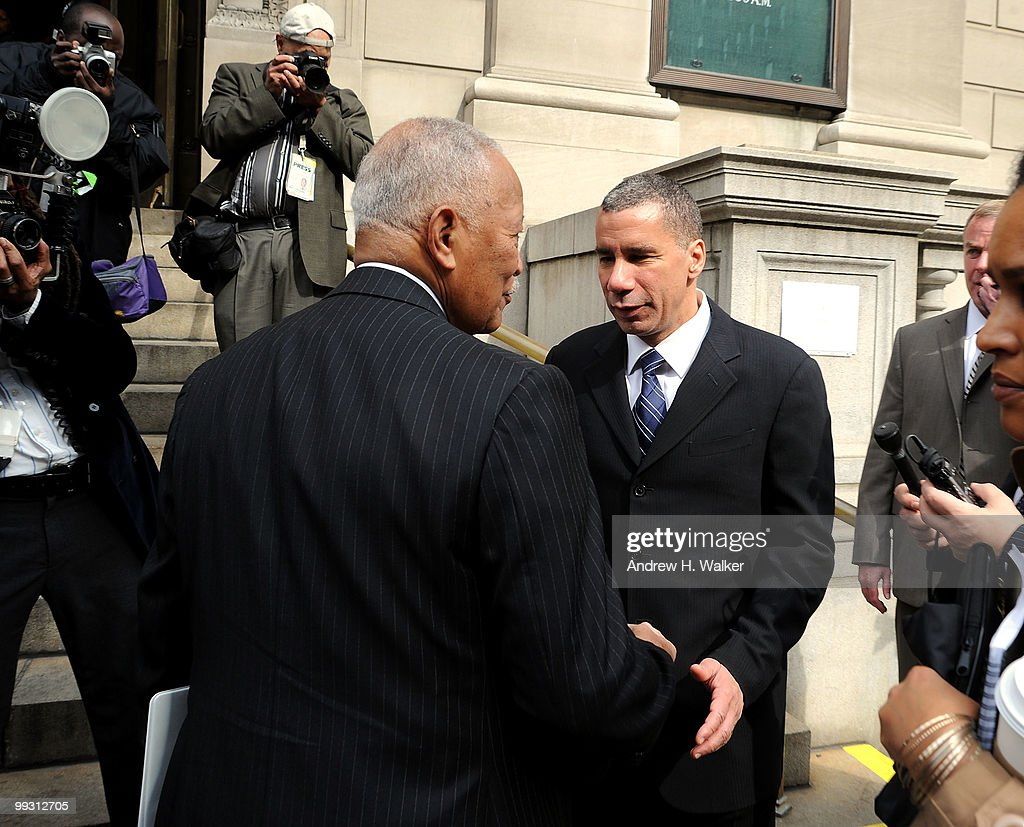 Former New York City mayor <a gi-track='captionPersonalityLinkClicked' href=/galleries/search?phrase=David+Dinkins&family=editorial&specificpeople=171317 ng-click='$event.stopPropagation()'>David Dinkins</a> and New York State governor David Patterson (R) greet each other at the funeral services for entertainer Lena Horne at St. Ignatius Loyola Church on May 14, 2010 in New York City.