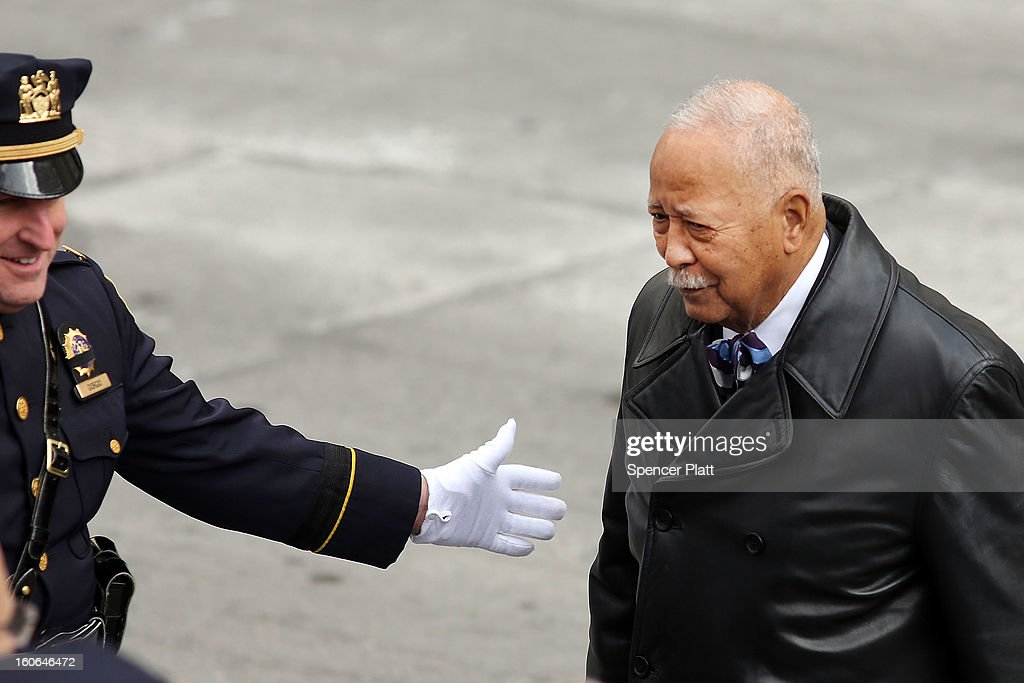 Former New York City Mayor <a gi-track='captionPersonalityLinkClicked' href=/galleries/search?phrase=David+Dinkins&family=editorial&specificpeople=171317 ng-click='$event.stopPropagation()'>David Dinkins</a> attends funeral services for former New York Mayor Ed Koch at Manhattan's Temple Emanu-El on February 4, 2013 in New York City.The iconic former New York mayor passed away on February 1, 2013 in New York City at age 88. Ed Koch was New York's 105th mayor and ran the city from 1978-89. He was often outspoken and combative and has been credited with rescuing the city from near-financial ruin during a three-term City Hall run. Former Governor Mario Cuomo is at left.