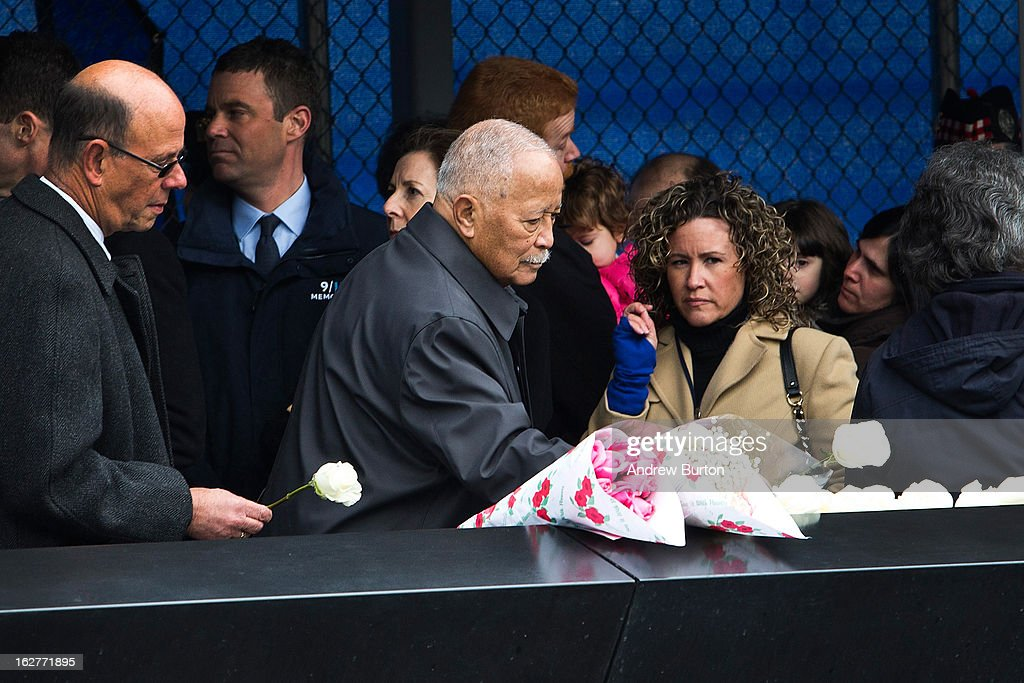 Former New York City Mayor <a gi-track='captionPersonalityLinkClicked' href=/galleries/search?phrase=David+Dinkins&family=editorial&specificpeople=171317 ng-click='$event.stopPropagation()'>David Dinkins</a> lays a white rose at the memorial site during the 20th Anniversary Ceremony for the 1993 World Trade Center bombing at Ground Zero on February 26, 2013 in New York City. The attack, which utilized a car bomb and hit the north tower, killed six people.
