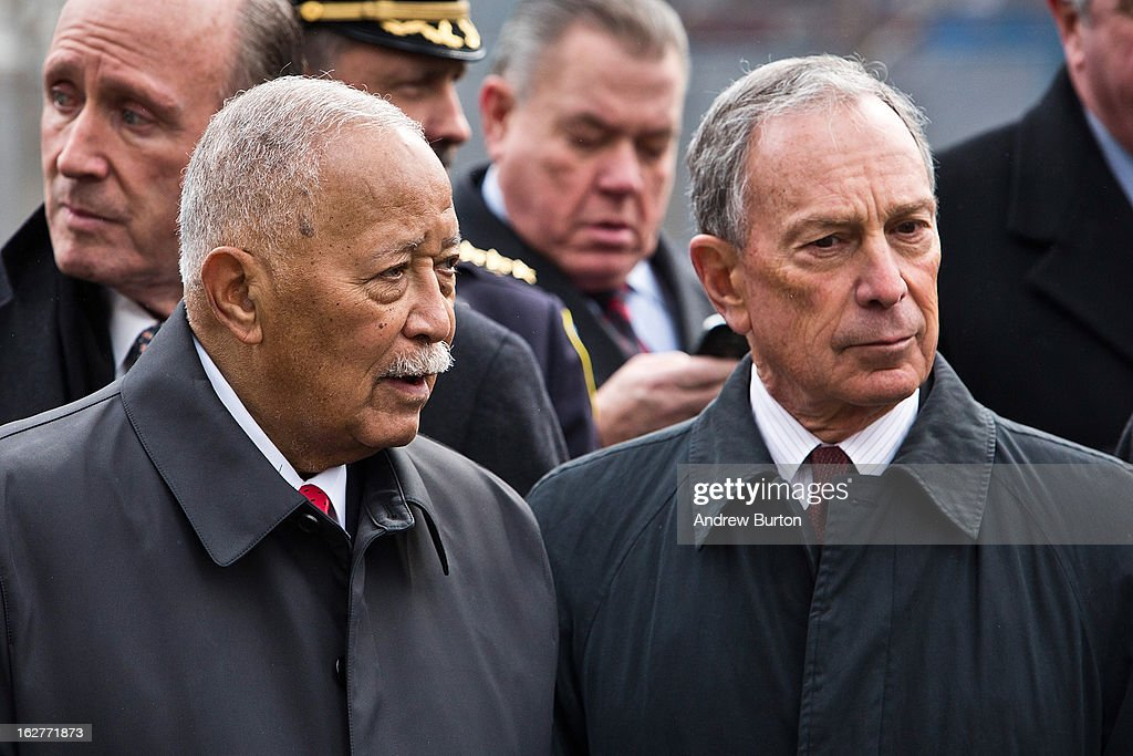 Former New York City Mayor <a gi-track='captionPersonalityLinkClicked' href=/galleries/search?phrase=David+Dinkins&family=editorial&specificpeople=171317 ng-click='$event.stopPropagation()'>David Dinkins</a>, left, and current New York City Mayor <a gi-track='captionPersonalityLinkClicked' href=/galleries/search?phrase=Michael+Bloomberg&family=editorial&specificpeople=171685 ng-click='$event.stopPropagation()'>Michael Bloomberg</a> attend the 20th Anniversary Ceremony for the 1993 World Trade Center bombing at Ground Zero on February 26, 2013 in New York City. The attack, which utilized a car bomb and hit the north tower, killed six people.
