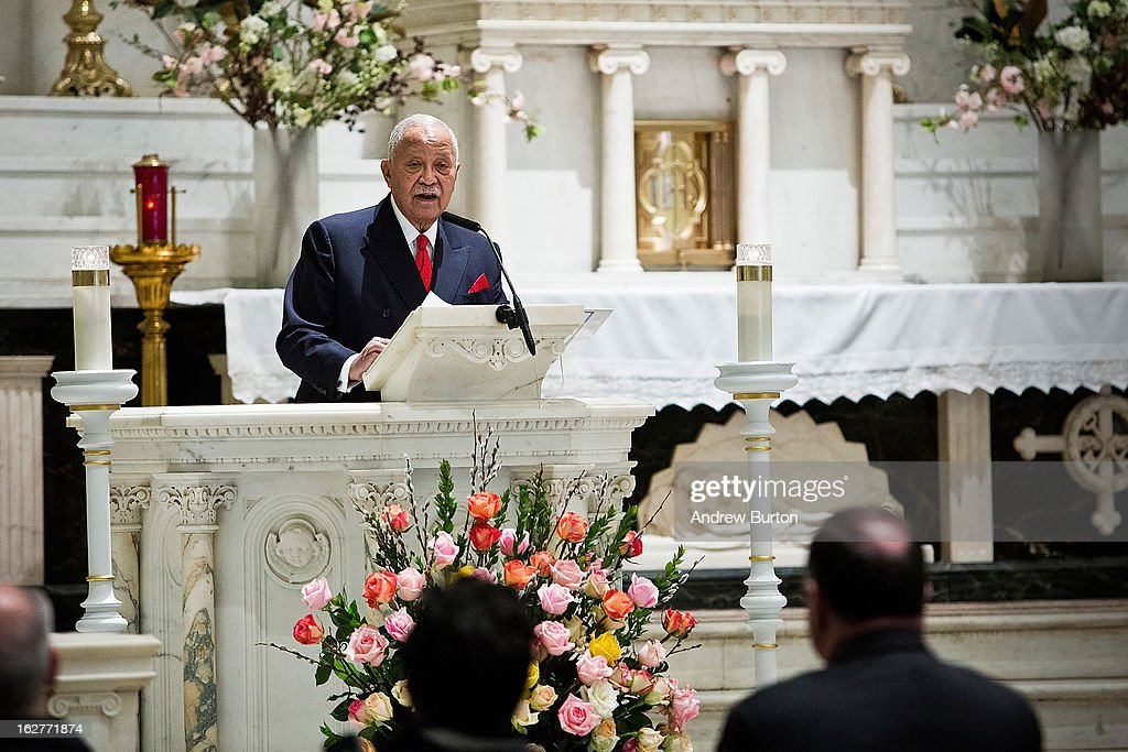 Former New York City Mayor <a gi-track='captionPersonalityLinkClicked' href=/galleries/search?phrase=David+Dinkins&family=editorial&specificpeople=171317 ng-click='$event.stopPropagation()'>David Dinkins</a> speaks at a mass at St. Patrick's Roman Catholic Church prior to the 20th Anniversary Ceremony for the 1993 World Trade Center bombing on February 26, 2013 in New York City. The attack, which utilized a car bomb and hit the north tower, killed six people.