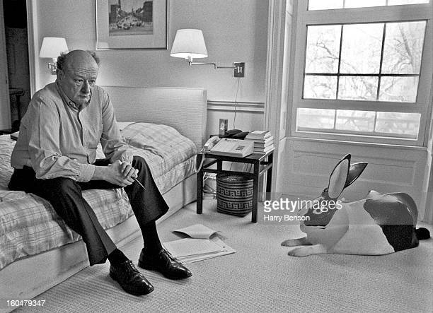 Former New York City Mayor Ed Koch is photographed for Vanity Fair Magazine in 1989 in his bedroom at Gracie Mansion in New York City
