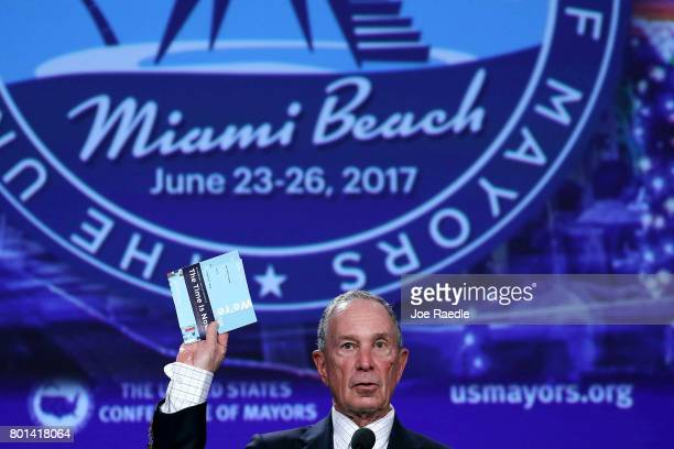 Former New York City Mayor Michael Bloomberg addresses the United States Conference of Mayors at the Fountainebleau Hotel on June 26 2017 in Miami...