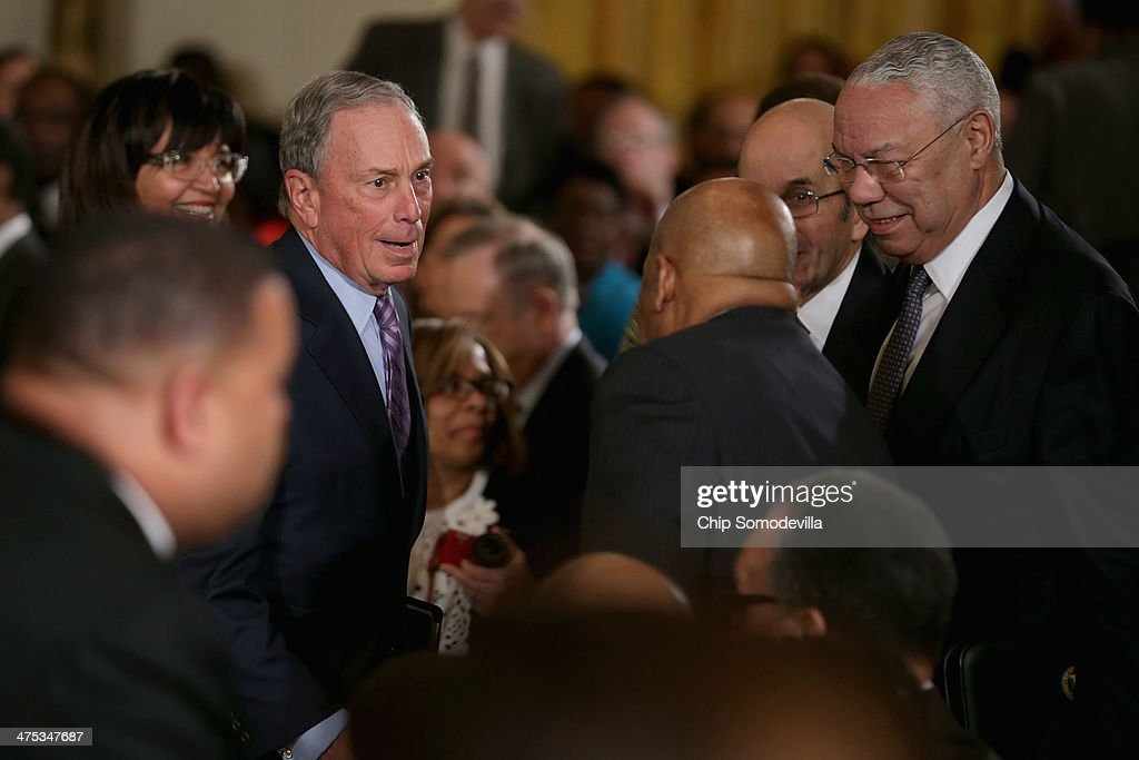 Former New York City Mayor <a gi-track='captionPersonalityLinkClicked' href=/galleries/search?phrase=Michael+Bloomberg&family=editorial&specificpeople=171685 ng-click='$event.stopPropagation()'>Michael Bloomberg</a> and former Secretary of State <a gi-track='captionPersonalityLinkClicked' href=/galleries/search?phrase=Colin+Powell&family=editorial&specificpeople=118599 ng-click='$event.stopPropagation()'>Colin Powell</a> (R) talk with Rep. John Lewis (D-GA) before the arrival of U.S. President Barack Obama during an event about Obama's 'My Brother's Keeper' initiative in the East Room at the White House February 27, 2014 in Washington, DC. As part of his 'Year of Action,' Obama announced a $200 million commitment from nine foundations to bolster the education and employment of young men and boys of color.