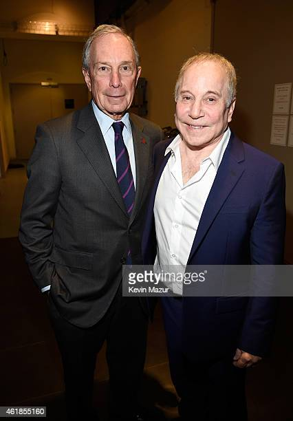Former New York City Mayor Michael Bloomberg and Paul Simon attend the 'Nearness of You' Concert to Benefit Cancer Research at Frederick P Rose Hall...