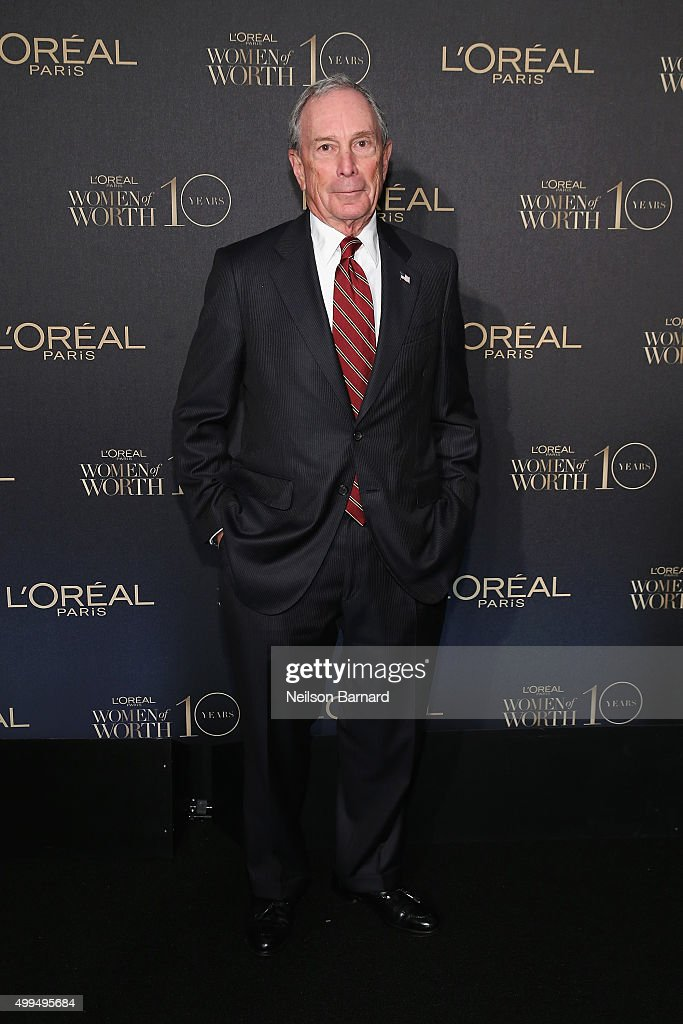 Former New York City Mayor Michael Bloomberg attend the L'Oreal Paris Women of Worth 2015 Celebration - Arrivals at The Pierre Hotel on December 1, 2015 in New York City.