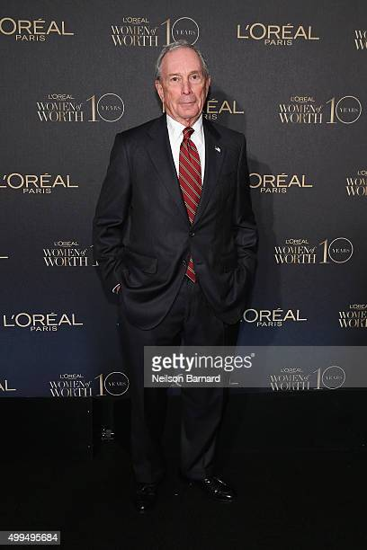 Former New York City Mayor Michael Bloomberg attend the L'Oreal Paris Women of Worth 2015 Celebration Arrivals at The Pierre Hotel on December 1 2015...