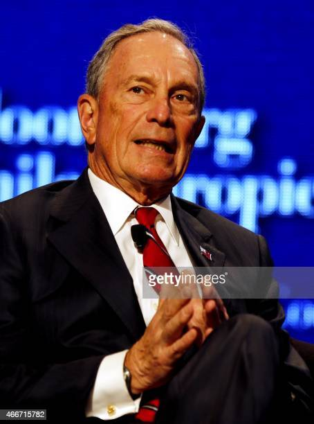 Former New York City mayor Michael Bloomberg gives a speech during a ceremony to attribute 'Philanthropies Awards for Global Tobacco Control' on the...