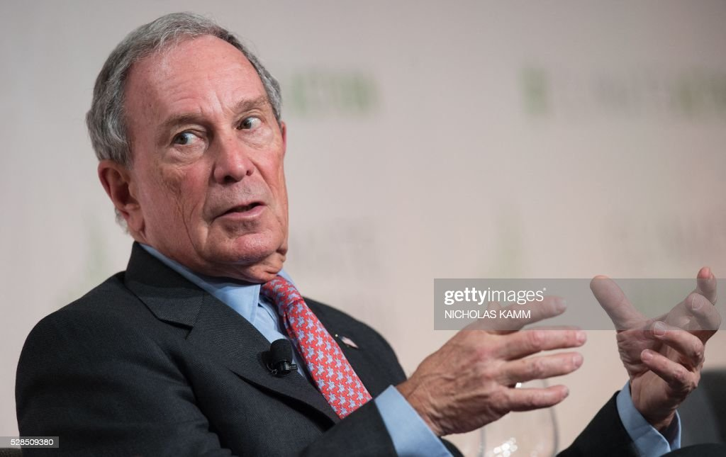 Former New York City mayor Michael Bloomberg, UN secretary-general's special envoy for cities and climate change and founding partner of the Compact of Mayors, participates in a discussion on 'Progress and Potential in the Months Since the Climate Summit for Local Leaders' at the Climate Action 2016 conference in Washington, DC, on May 5, 2016. / AFP / NICHOLAS