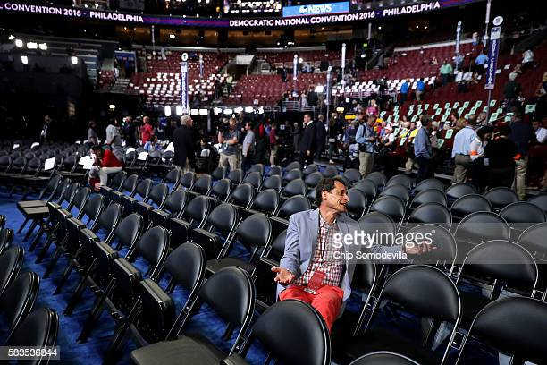 Former New York congressman Anthony Weiner attends the start of the second day of the Democratic National Convention at the Wells Fargo Center July...