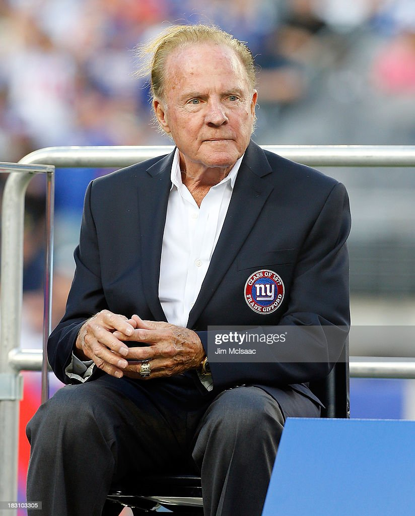 Former New York Giant Frank Gifford looks on during a half time ceremony of a game between the New York Giants and the Denver Broncos honoring former head coach Bill Parcells at MetLife Stadium on Sunday, September 15 2013 in East Rutherford, New Jersey. The Broncos defeated the Giants 41-23.