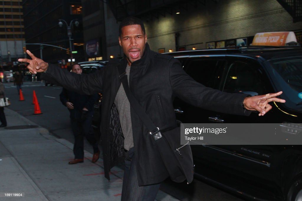 Former New York Giants defensive end and TV personality Michael Strahan arrives at 'Late Show with David Letterman' at Ed Sullivan Theater on January 7, 2013 in New York City.