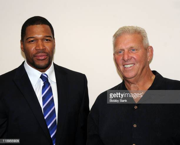 Former New York Giants football player Michael Strahan and former New York Giants coach Bill Parcells attend the 25th Anniversary Celebration of the...