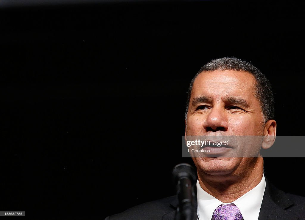 Former New York Governor <a gi-track='captionPersonalityLinkClicked' href=/galleries/search?phrase=David+Paterson+-+American+Politician&family=editorial&specificpeople=3006680 ng-click='$event.stopPropagation()'>David Paterson</a> speaks at The 4th Annual Triumph Awards at Rose Theater, Jazz at Lincoln Center on October 7, 2013 in New York City.