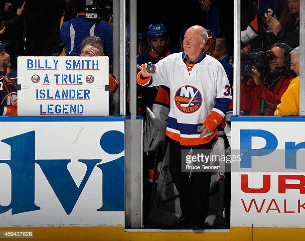 Former New York Islander Billy Smith is honored prior to the New York Islanders game against the Pittsburgh Penguins at the Nassau Veterans Memorial...