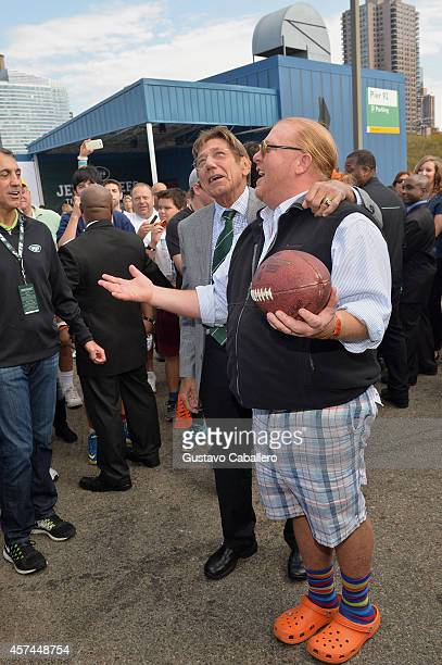 Former New York Jets quarterback Joe Namath and Chef Mario Batali speak at Jets Chefs The Ultimate Tailgate hosted by Joe Namath and Mario Batali...