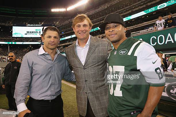 Former New York Jets stars Wayne Chrebet Chad Pennington and Lavaranues Coles attend the NY Jets VS Chicago Bears game at MetLife Stadium on...