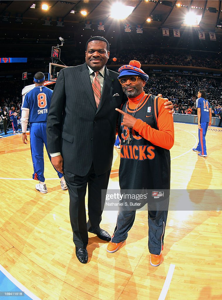 Former New York Knick great Bernard King and Director Spike Lee pose for a photo before a game against the New Orleans Hornets on January 13, 2013 at Madison Square Garden in New York City.