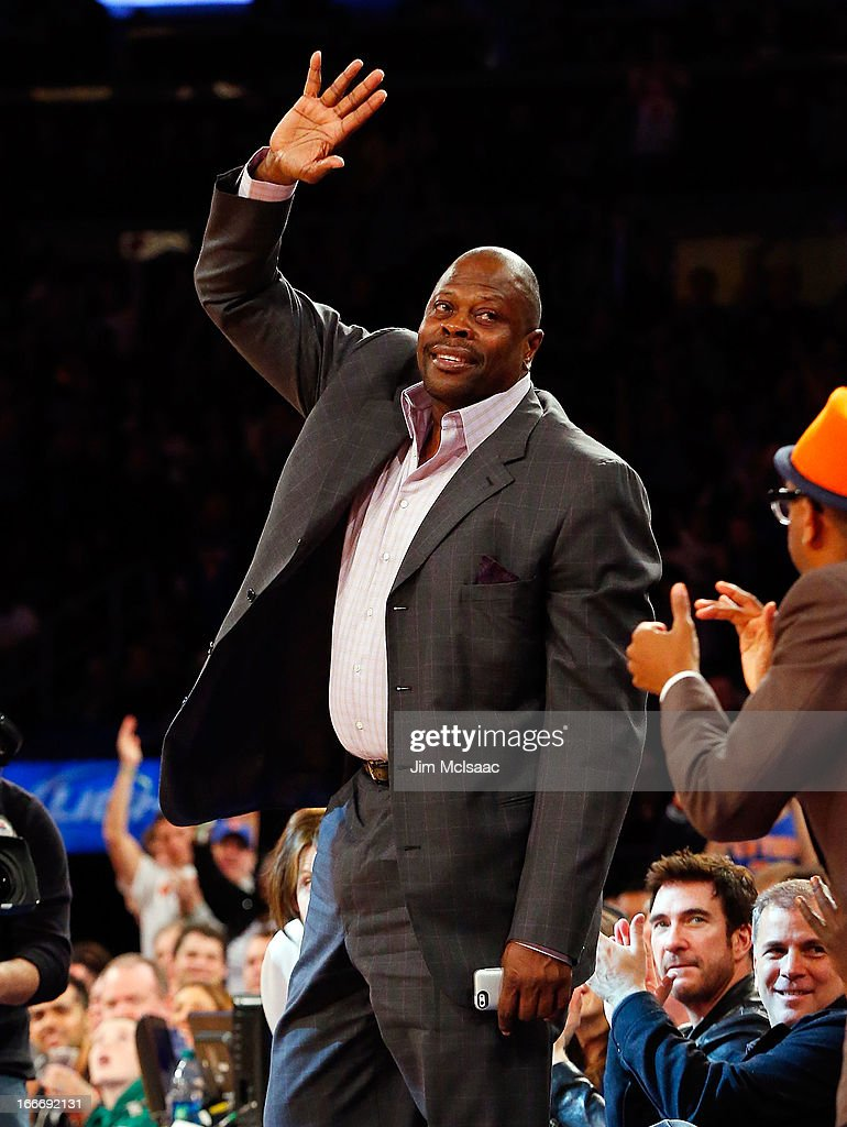 Former New York Knick Patrick Ewing is introduced during a game against the Boston Celtics at Madison Square Garden on March 31, 2013 in New York City. The Knicks defeated the Celtics 108-89.
