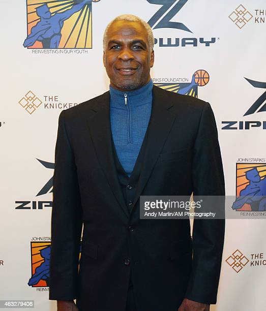 Former New York Knicks player Charles Oakley poses for a photo during the Zipway press conference and VIP reception at the Knickerbocker hotel on...