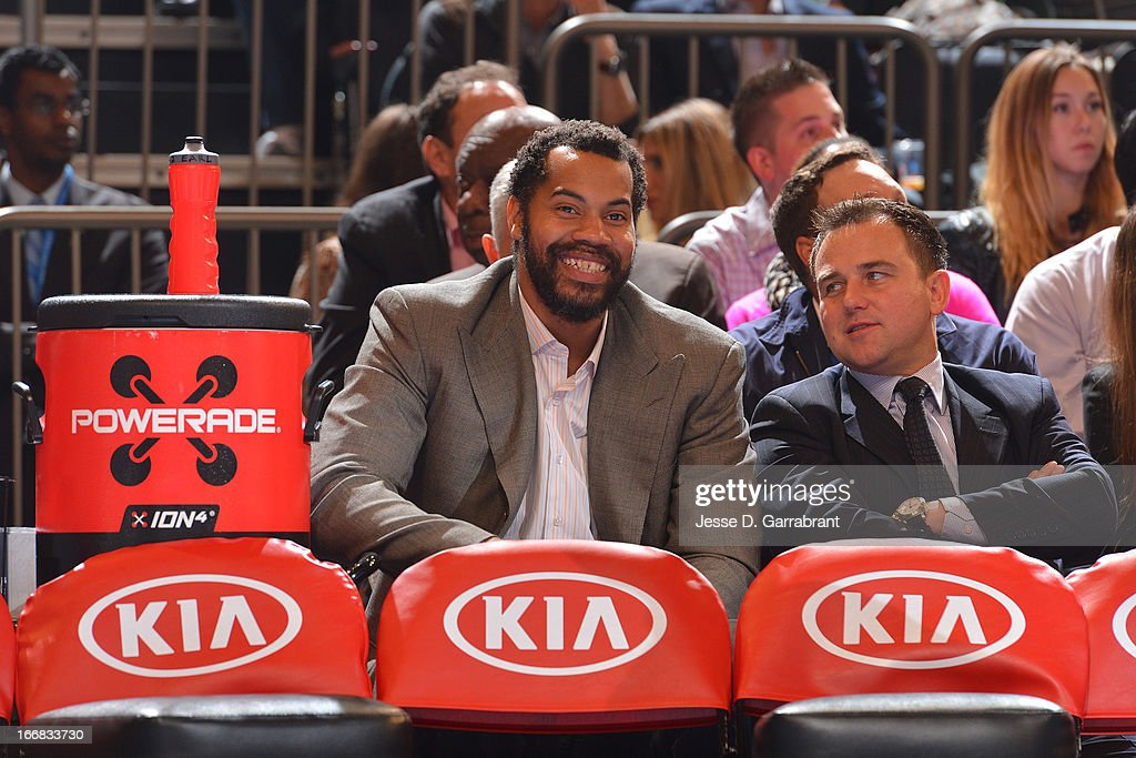 Former New York Knicks player Rasheed Wallace watches the game between the Atlanta Hawks and the New York Knicks on April 17, 2013 at Madison Square Garden in New York City, New York.
