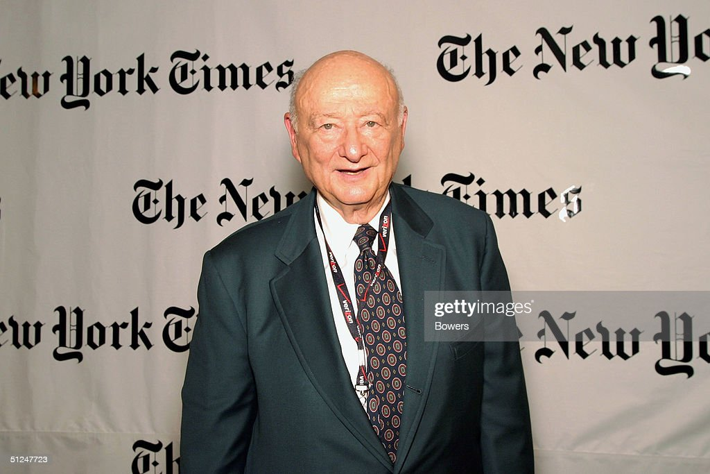Former New York Mayor Ed Koch attends a party hosted by Arthur O Sulzberger Jr publisher of the New York Times at the Frederick P Rose Hall August 30...