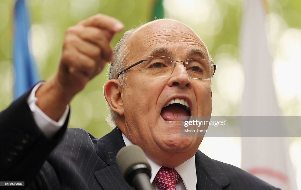 Former New York Mayor <a gi-track='captionPersonalityLinkClicked' href=/galleries/search?phrase=Rudolph+Giuliani&family=editorial&specificpeople=118618 ng-click='$event.stopPropagation()'>Rudolph Giuliani</a> speaks to the media at a rally of groups opposing Iranian President Ahmadinejad's speech at the United Nations General Assembly on September 26, 2012 in New York City. Politicians including Giuliani, former House Speaker Newt Gingrich, former Homeland Security Secretary Tom Ridge, former New Mexico Governor Bill Richardson and former U.N Ambassador John Bolton spoke at the pro-democracy rally which also included Syrian pro-democracy protesters.