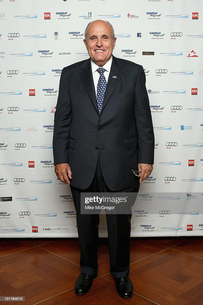 Former New York mayor Rudy Giuliani attends Cantor Fitzgerald & BGC Partners host annual charity day on 9/11 to benefit over 100 charities worldwide at Cantor Fitzgerald on September 11, 2012 in New York City.